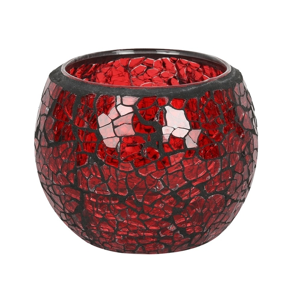 Small Round Red Crackle Candle Holder