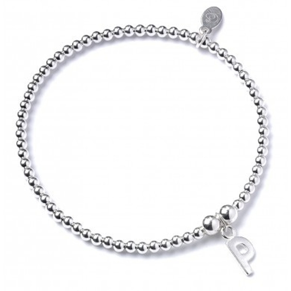 Initial P Charm with Sterling Silver Ball Bead Bracelet