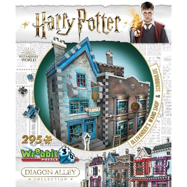 Wrebbit 3D Harry Potter Diagon Alley Collection: Ollivanders & Scribbulus Jigsaw Puzzle - 295 Pieces - Image 1