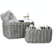 Woven Rope Storage Baskets - Set of 3 M&W Grey