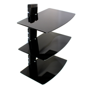 Tempered Black Glass Floating Shelf Wall Mount Consoles/DVD players M&W 3 Tier