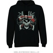 Guns N Roses Distressed Skull Pullover Hoodie: Large
