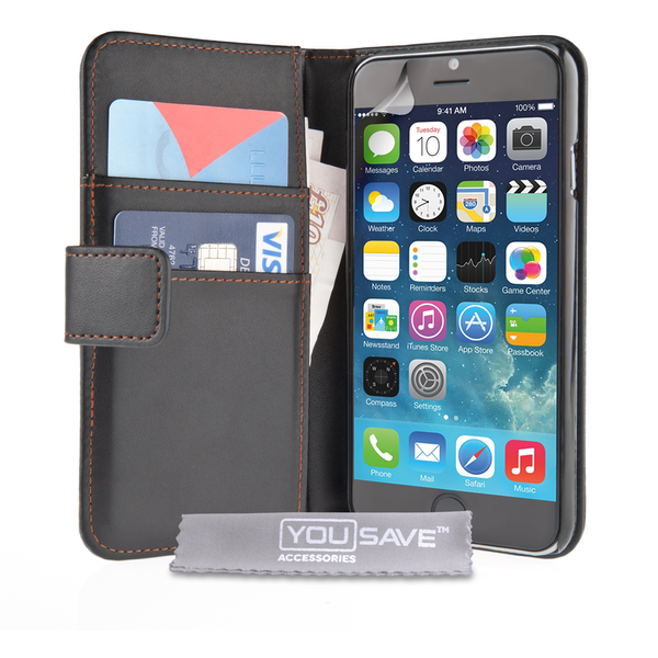 YouSave Accessories iPhone 6 / 6s PU Leather Wallet Case - Black
