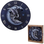 Fantasy Sweet Dreams Dragon in Moon Wall Clock