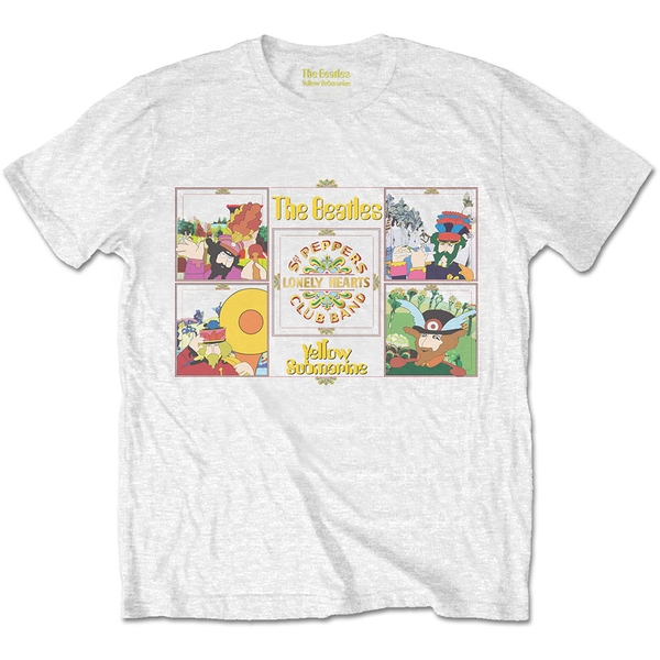 The Beatles - Yellow Submarine Sgt Pepper Band Men's X-Large T-Shirt - White