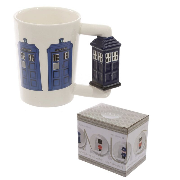 Ceramic Shaped Handle Police Box Mug