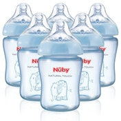 Nûby Nuby Natural Touch Decorated Baby Bottles (6 Pack, Blue)