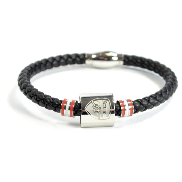 Arsenal Leather Colour Ring Stainless Steel Boxed Bracelet