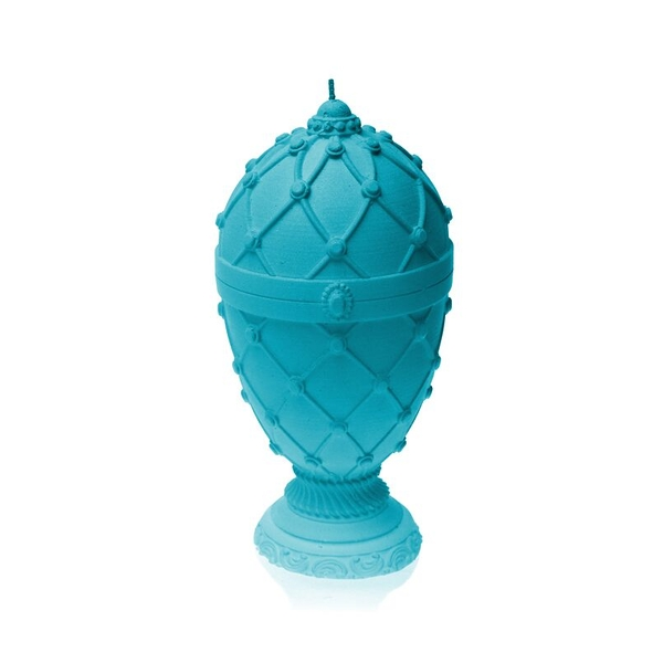 Marine Blue Faberge Egg Large Candle
