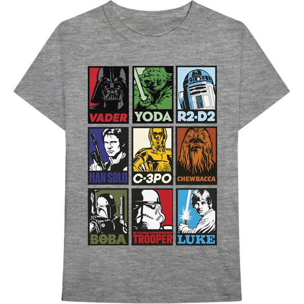 Star Wars - Character Squares Men's XX-Large T-Shirt - Grey