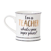 Sass & Belle Metallic Monochrome I'm A Teacher Mug