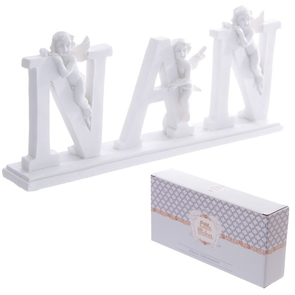 Cute NAN Letter Cherub Ornament on Base