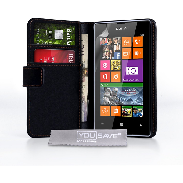 YouSave Accessories Nokia Lumia 525 Leather-Effect Wallet Case - Black