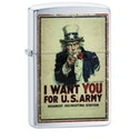 Zippo U.S. Army I Want You Brushed Chrome Finish Windproof Lighter