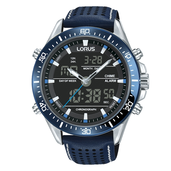 Lorus RW643AX9 Stylish Analogue/Digital Chronograph with Textured Blue Leather Strap
