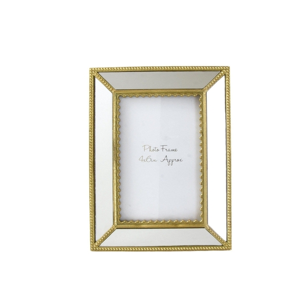 "Ornate Photo frame with Mirrored Panels and Gold Ornate Edge 4""x6"""