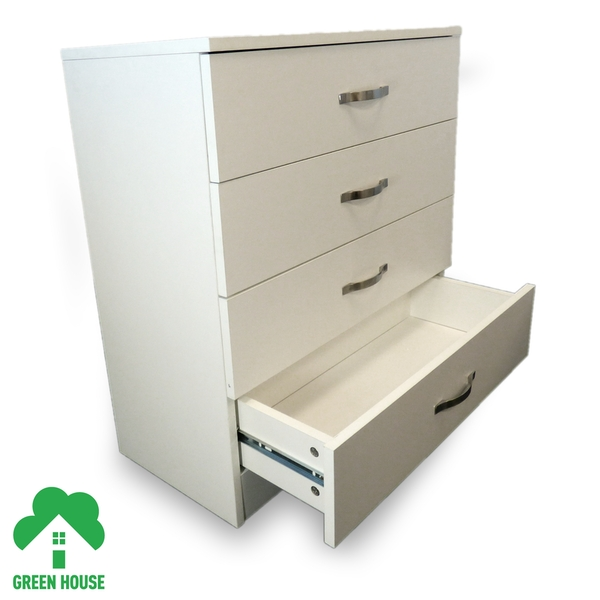4 Chest Of Drawers White Bedside Cabinet Dressing Table Bedroom Furniture Wooden Green House - Image 3