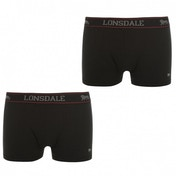 Lonsdale 2 Pack Mens Trunk Boxer Shorts Black X-Large