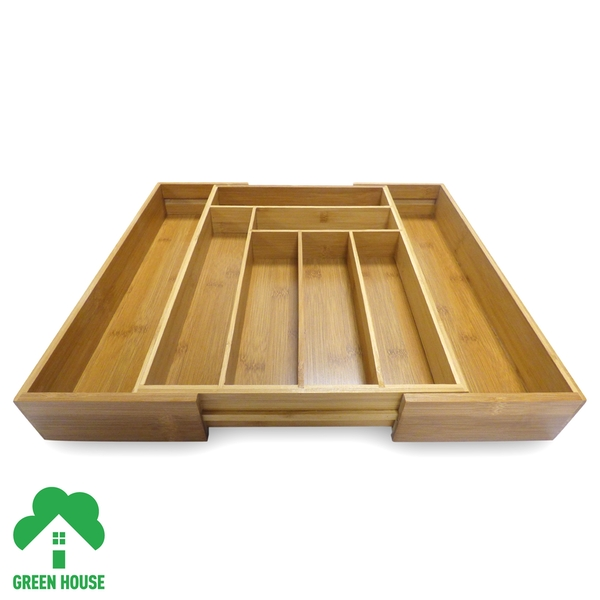 Bamboo Extending Cutlery Drawer Tray With Adjustable Compartments Green House - Image 4
