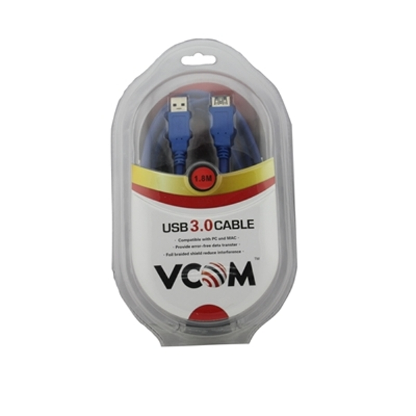 Image of VCOM 3.0 A (M) to USB 3.0 A (F) 1.8m Blue Retail Packaged Extension Data Cable