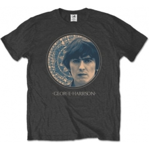George Harrison Circular Portrait Mens Charcoal TS: Large