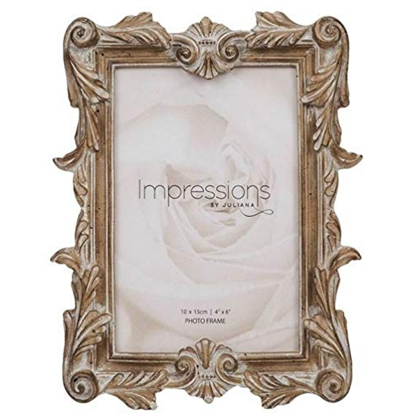 """4"""" x 6"""" - Impressions Antique Carved Wood Finish Photo Frame"""