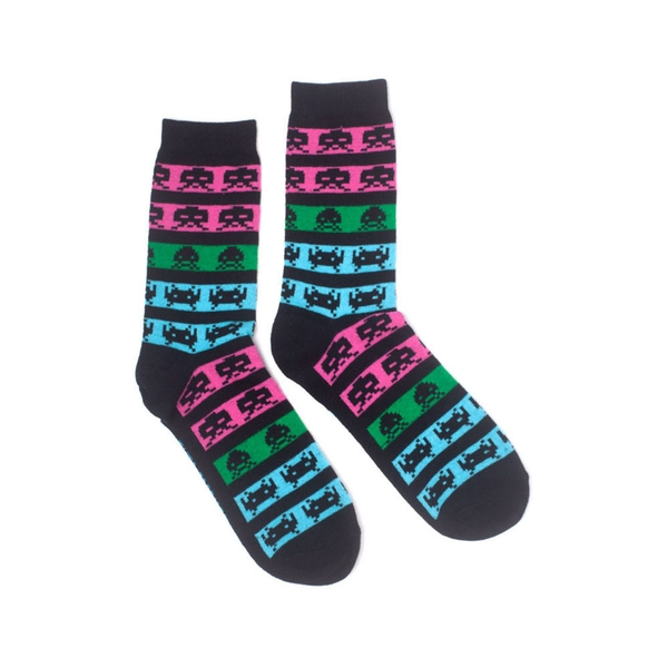 Space Invaders - Neon Colours Unisex 43/46 Socks - Black