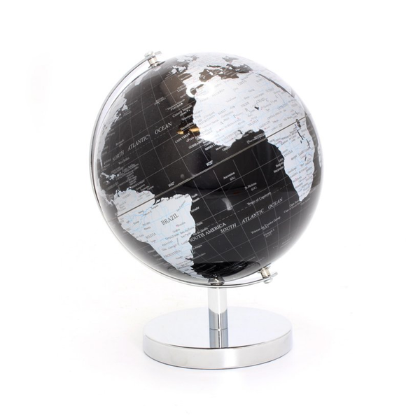 Small Globe Silver & Black on Base by Lesser & Pavey