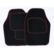 Streetwize Velour Carpet Mat Set with Coloured Binding - 4 Piece Black/Red