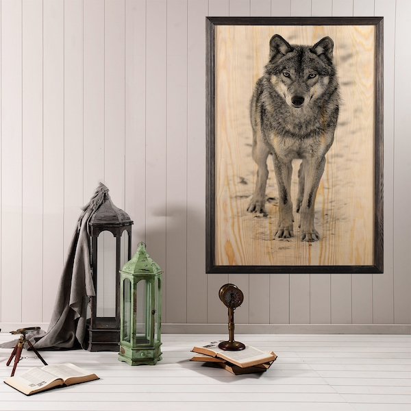 Wolf Multicolor Decorative Framed Wooden Painting