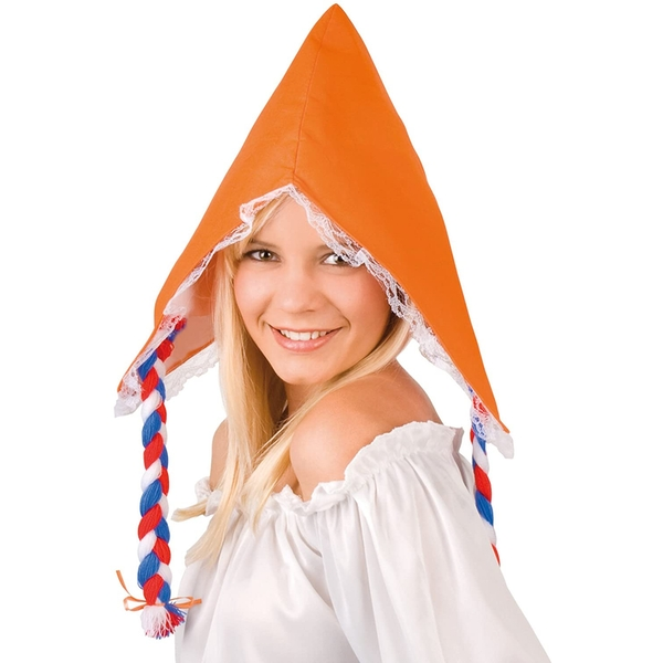 Adult Hat With Hair (White/Orange)