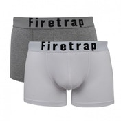Firetrap 2 Pack Mens Trunk Boxer Shorts White & Grey Large