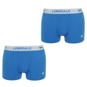 Lonsdale 2 Pack Mens Trunk Boxer Shorts Royal Blue & White Medium