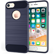 Apple iPhone 8 Carbon Fibre Textured Gel Cover - Blue
