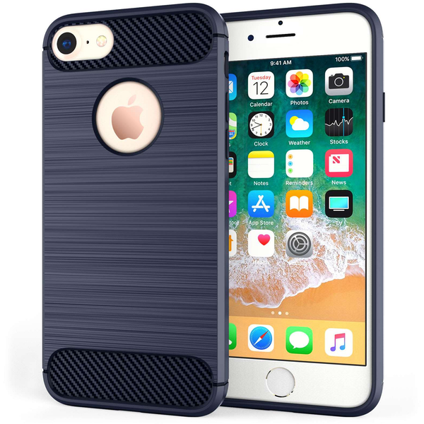 Compare prices with Phone Retailers Comaprison to buy a Apple iPhone 8 Carbon Fibre Textured Gel Cover - Blue
