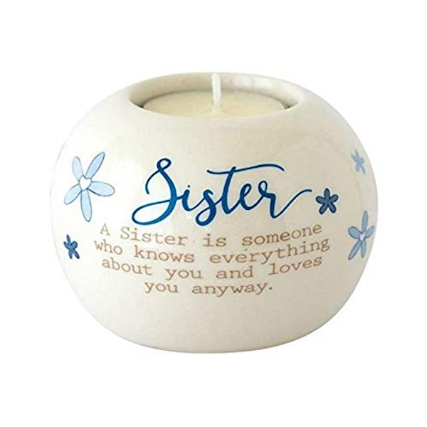 Said with sentiment Ceramic Tealight Candle Holder - Sister