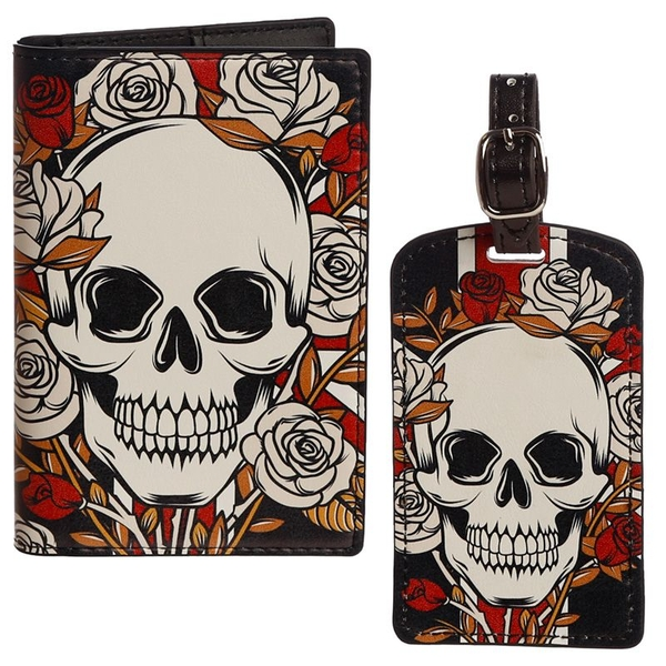 UK Skulls & Roses Passport Holder and Luggage Tag Set
