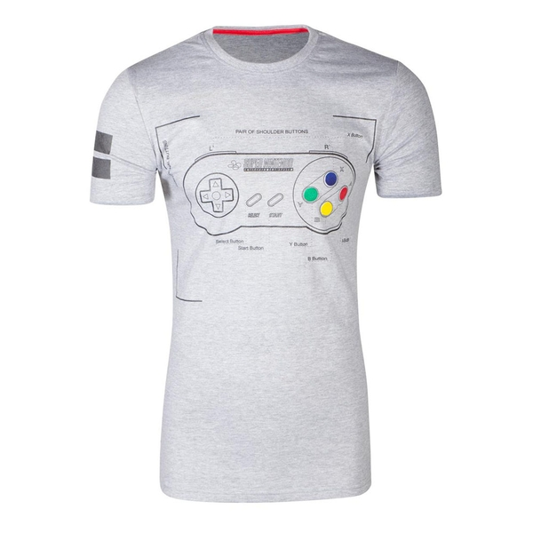 Nintendo - Snes Controller Super Power Men's X-Large T-Shirt - Grey