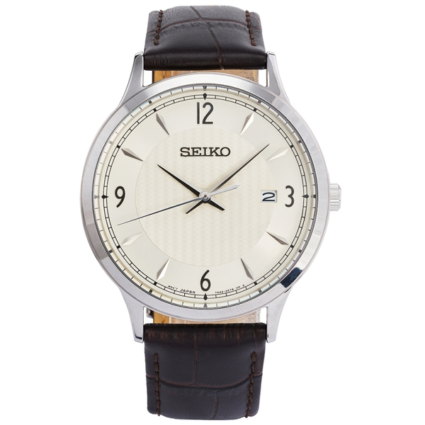 Seiko SGEH83P1  Quartz Movement Leather Strap Watch with Cream Dial