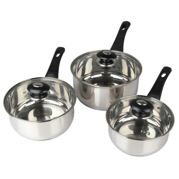 Supreme Vision 3pc Stainless Sauce pan Set with Glass Lids Stainlees Steel 41 x 27 x 5.5 cm