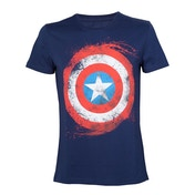 Marvel Comics Swirling Captain America Shield Large Navy Blue T-Shirt