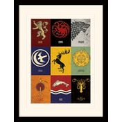 Game of Thrones - Sigils Mounted & Framed 30 x 40cm Print