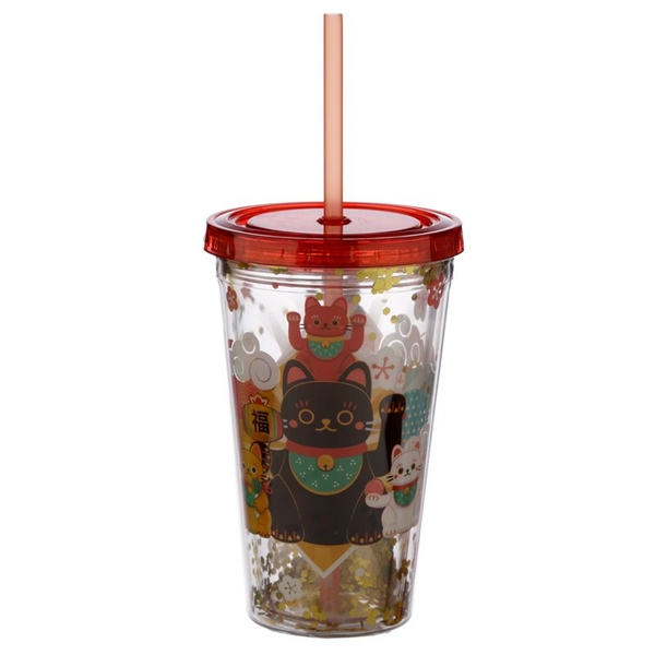 Maneki Neko Lucky Cat Plastic 500ml Double Walled Reusable Cup with Straw and Lid