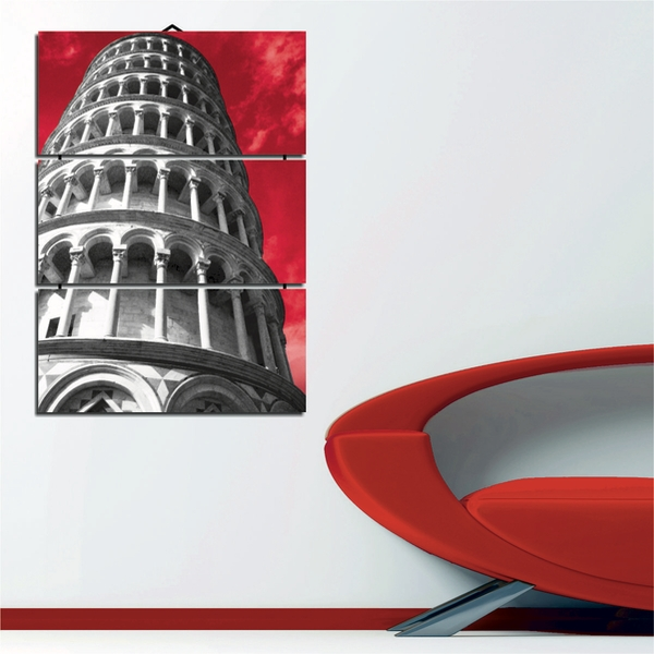 Leaning Tower Of Pisa Decorative MDF Painting (3 Pieces)