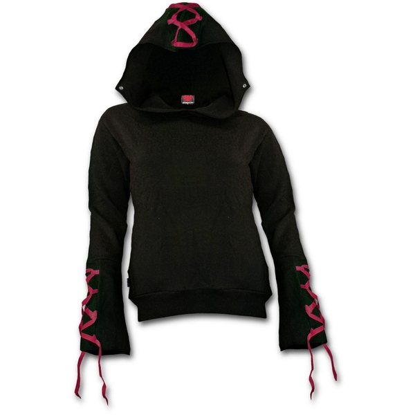 Gothic Elegance Red Ribbon Gothic Women's Small Hoodie - Black