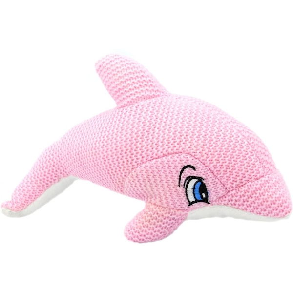 Pink Knitted Dolphin 10 Inch Plush