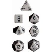 Opaque Dark Grey / Black 7 Dice Set