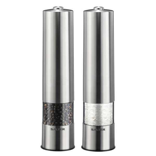 Salter Electric Salt and Pepper Mill Grinder Set Brushed Stainless Steel Finish