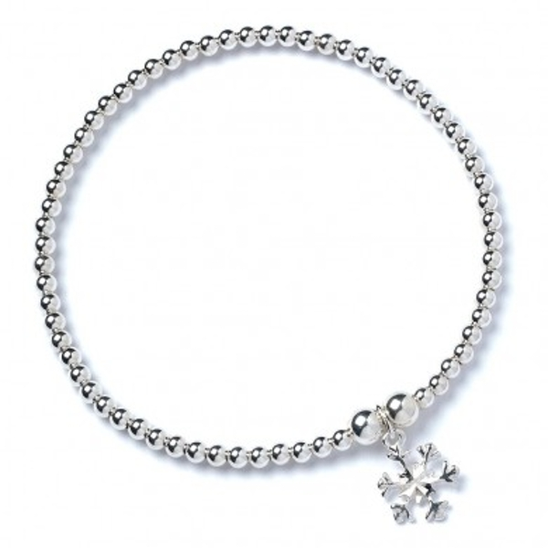 Snowflake Charm with Sterling Silver Ball Bead Bracelet