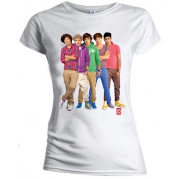One Direction Group Standing Colour Skinny Wht TS: Medium